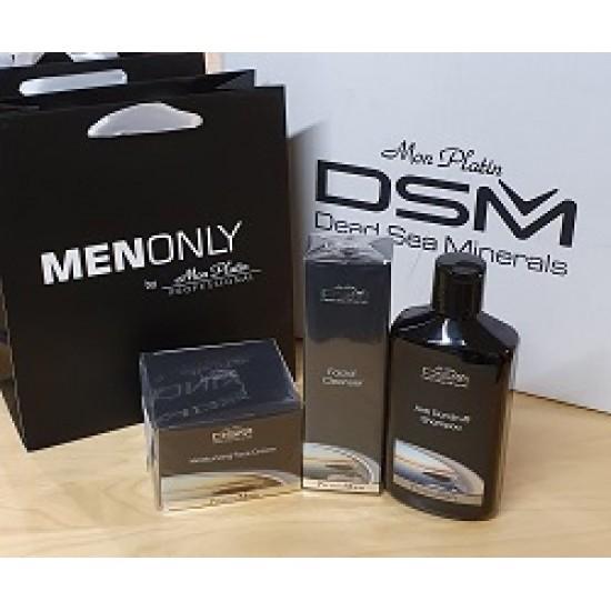 Rinkinys vyrams: šampūnas nuo pleiskanų, valomojji veido priemonė ir veido kremas